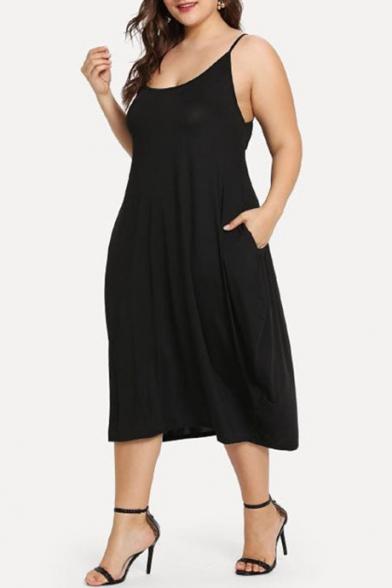 Women's Plus Size Solid Color Scoop Neck Midi Black Slip Dress with Pocket
