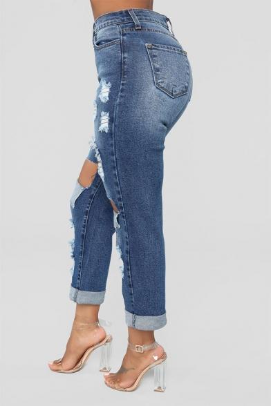 Womens Hot Fashion Distressed Ripped Hole Design Light Blue Slim Fit Denim Jeans