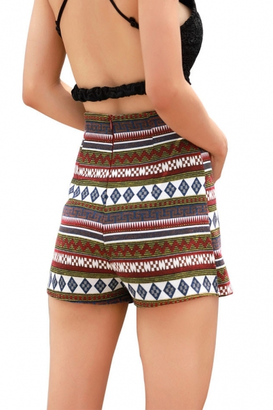 Womens Hot Fashion Ethnic Style Tribal Printed High Rise Overlap Front Skorts Shorts