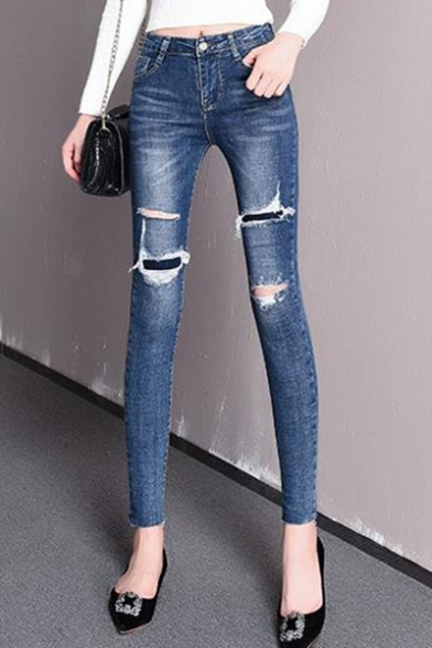 Womens New Fashion Solid Color Destroyed Ripped Stretch Skinny Fit Jeans