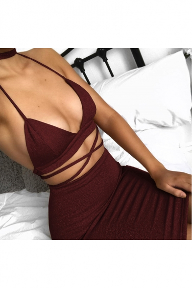 Womens Night Club Sexy Cutout Strappy Plain Mini Bodycon Slip Dress