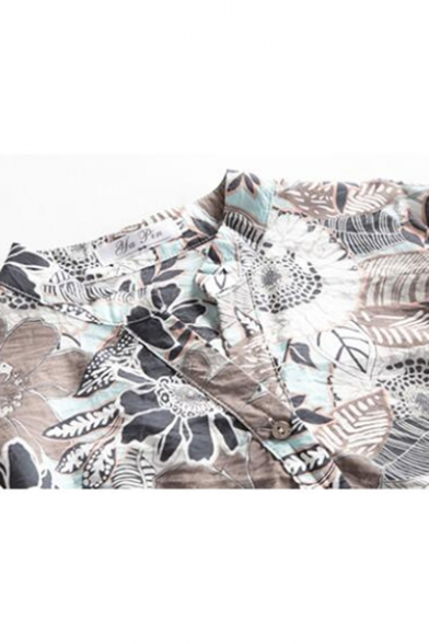 Womens Summer New Chic Floral Printed Button V-Neck Short Sleeve Relaxed Linen Blouse Top