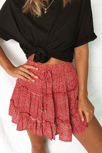 Womens Summer Trendy Floral Polka Dot Printed Tied Waist Mini A-Line Beach Skirt