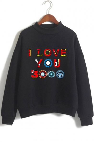 Chic Unique Colorful Iron Letter I LOVE YOU 3000 Mock Neck Long Sleeve Pullover Sweatshirt
