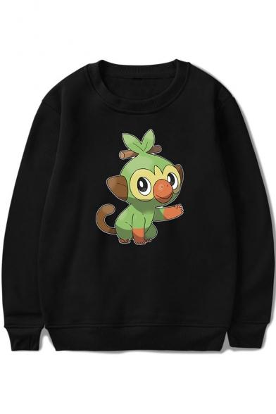 Cute Cartoon Comic Character Printed Long Sleeve Round Neck Pullover Sweatshirt