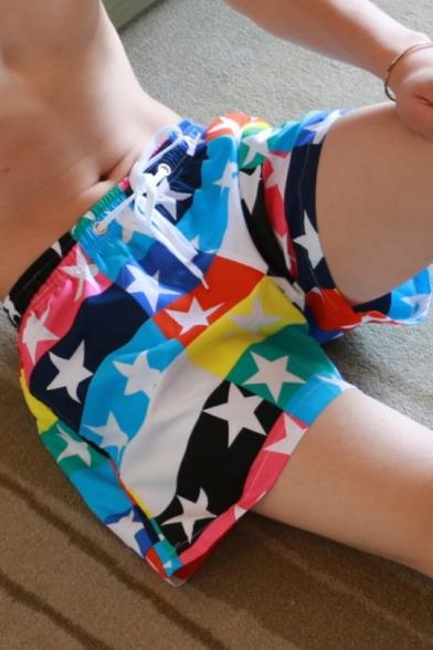 Fashion Colorblock Star Printed Mens Casual Loose Lounge Board Shorts Swim Shorts