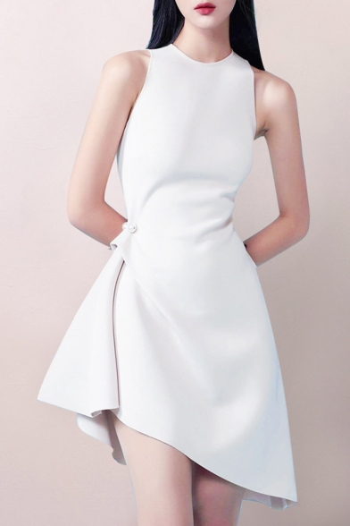 Fashion Designer Pearl Embellished Gathered Waist Solid Color Sleeveless Asymmetrical Dress