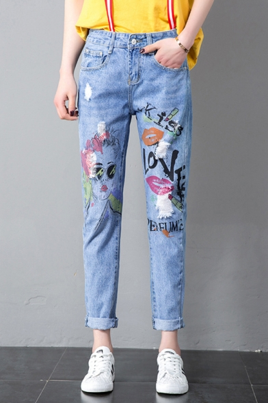Funny Cartoon Figure Letter KISS LOVE Graffiti Womens Ripped Casual Blue Jeans