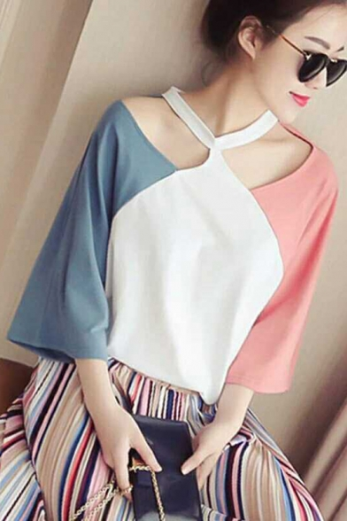 Girls New Trendy Colorblock Cut Out Three-Quarter Sleeve Loose T-Shirt