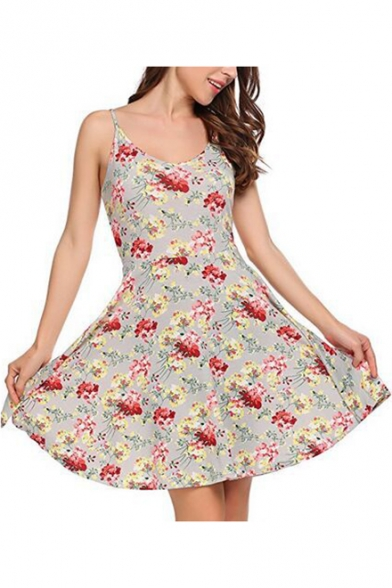 Girls Summer Fashionable Floral Printed Sleeveless Mini Slip Dress