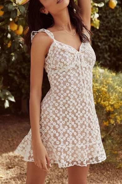 Girls Summer Tied V-Neck Sleeveless Chic Floral Embellished Mini A-Line White Cami Dress