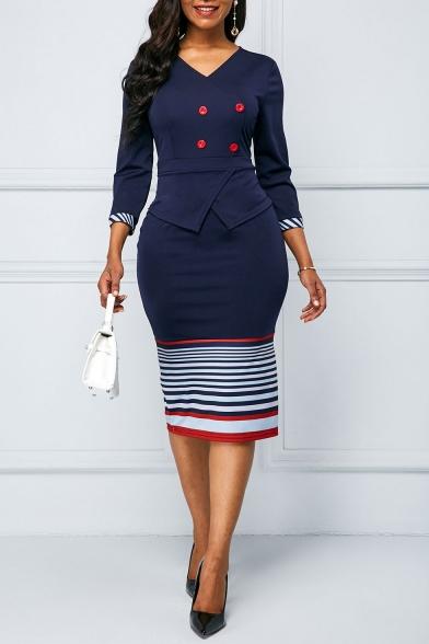 Baycheer / Ladies Trendy V-Neck Three Quarter Sleeve Stripe Print Button Front Back Zip Slit Sheath Midi Dress
