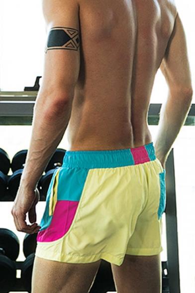 Mens Summer Fancy Colorblock Drawstring Waist Sport Tennis Shorts Swim Shorts