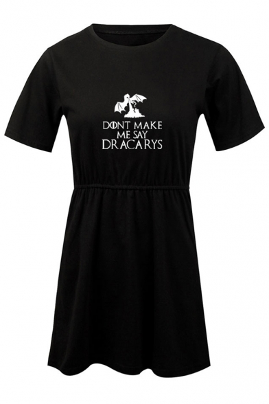 New Fashion Dragon Letter DONT MAKE ME SAY DRACARYS Simple Round Neck Short Sleeve T-Shirt Dress A-Line Dress