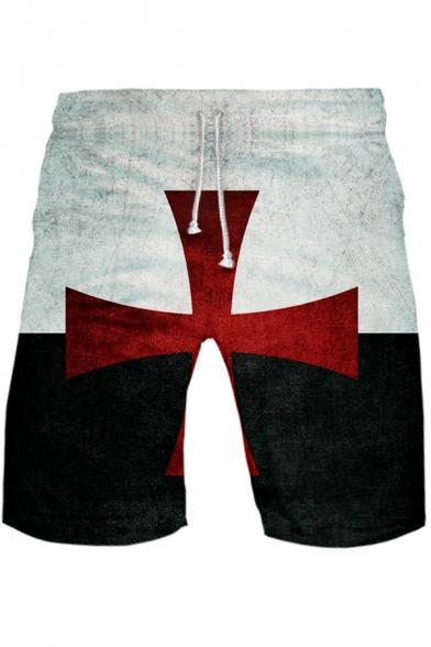 New Fashion Knights Templar Cross Printed Drawstring Waist Sport Loose Shorts