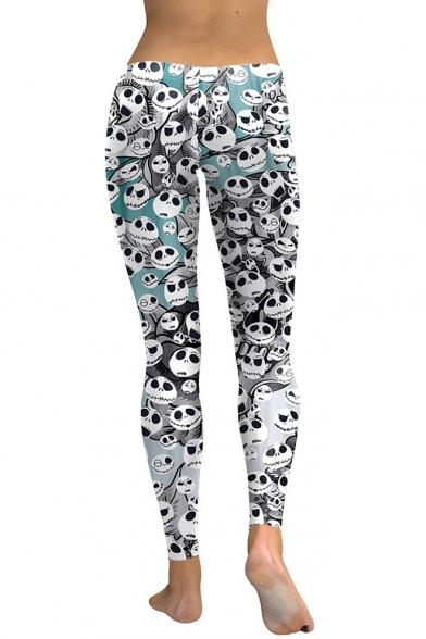 New Trendy Allover Skull Ghost Printed Stretch Fit Leggings for Women