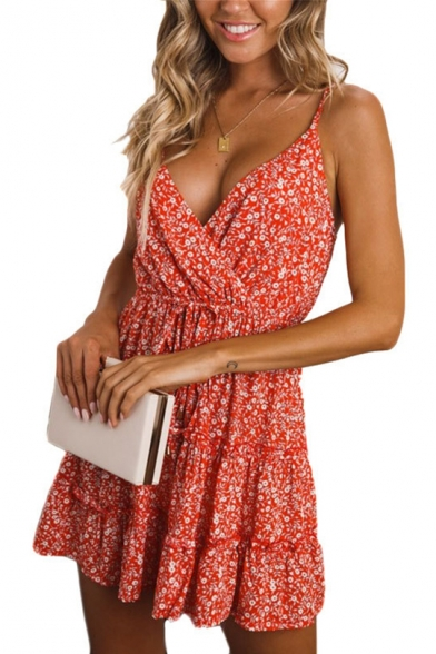 Sexy Surplice V-Neck Floral Printed Mini A-Line Slip Dress for Girls LM519488 фото
