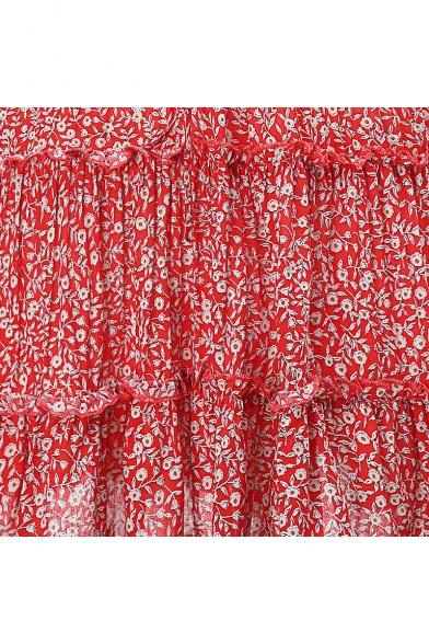 Sexy Surplice V-Neck Floral Printed Mini A-Line Slip Dress for Girls