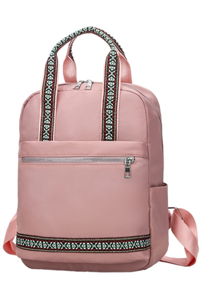 Simple Fashion Geometric Tape Patched Zipper Satchel Backpack 26*13*32 CM