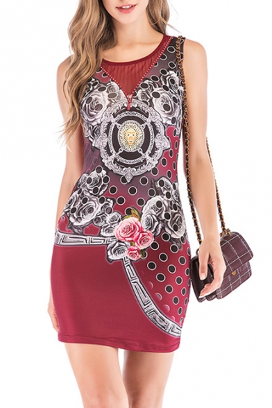 Summer Chic Beading Embellished Round Neck Sleeveless Mini Bodycon Tank Dress