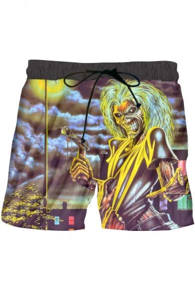 Summer Cool Comic Skull Character Print Loose Casual Swim Shorts for Men