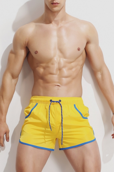 Summer Fashion Contrast Trim Drawstring Waist Fast Drying Sport Swim Shorts