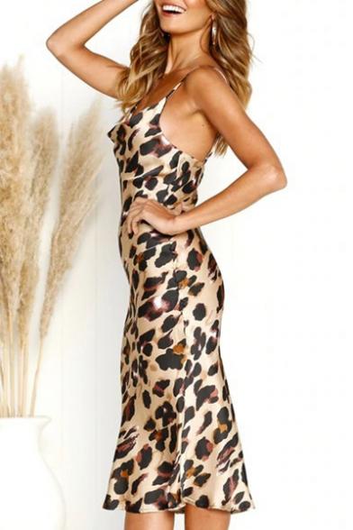 Summer's Hot Fashion Leopard Print Sleeveless V-Neck Sexy Midi Slip Khaki Dress