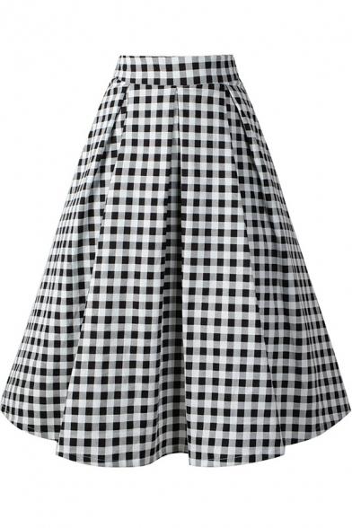 Vintage 50s Style Classic Plaid Printed Black Midi Swing Skirt