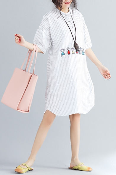 Women's Lovely Striped Embroidered Cartoon Pattern Button Detail Round Neck Half Sleeve Midi Casual Shirt White Dress With Pockets