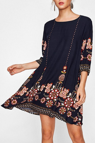 Women's New Fashion Tribal Floral Printed Round Neck Loose Casual Midi Dress