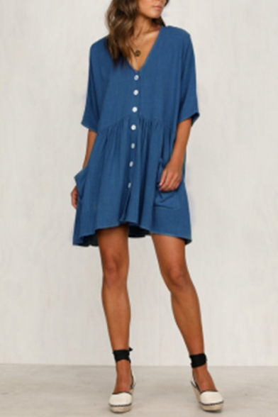 Women's New Plain Printed V-Neck Half Sleeve Button Detail Loose Mini Swing Dress With Pockets
