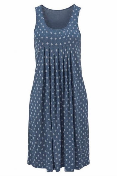 Women's New Trendy Blue Boho Print Scoop Neck Sleeveless Mini Holiday Dress