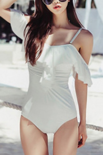 Women's Solid Color Chic Ruffled Hem Cold Shoulder Ruched White One Piece Swimsuit