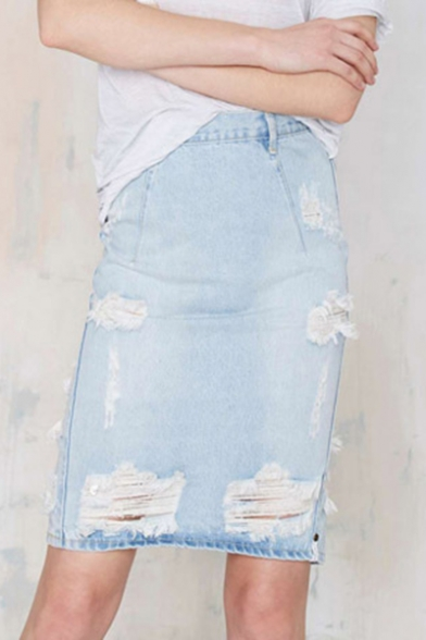 Women's Summer Fancy Distressed Ripped Sexy Split Back Washed Blue Bodycon Denim Skirt