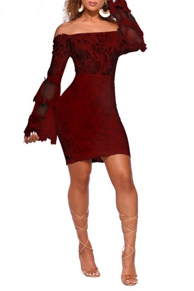 Women's Unique Off the Shoulder Long Sleeve Plain Print Lace Patch Mesh Detail Slim Fit Mini Bodycon Nightclub Dress