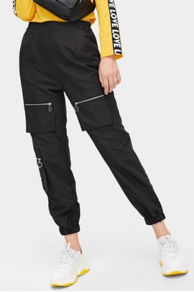Womens Basic Solid Color Unique Zip Pocket Elasticized Cuff Black Track Pants