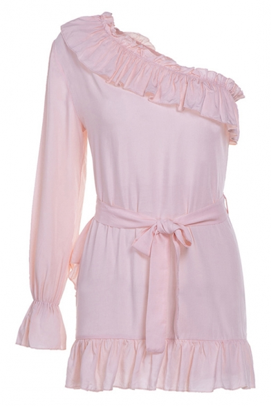 Womens Hot Fashion Chic Ruffled Hem One Shoulder Long Sleeve Tied Waist Plain Mini A-Line Dress