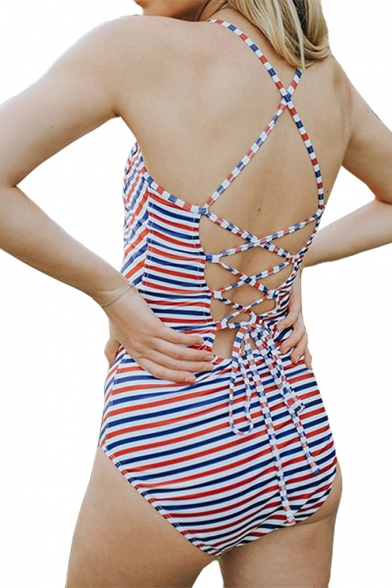 Womens New Fashion Striped Printed Crisscross Back One Piece Swimsuit