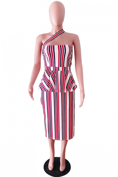 Womens Pink Stripe One Shoulder Sleeveless Split Side Pleated Midi Dress