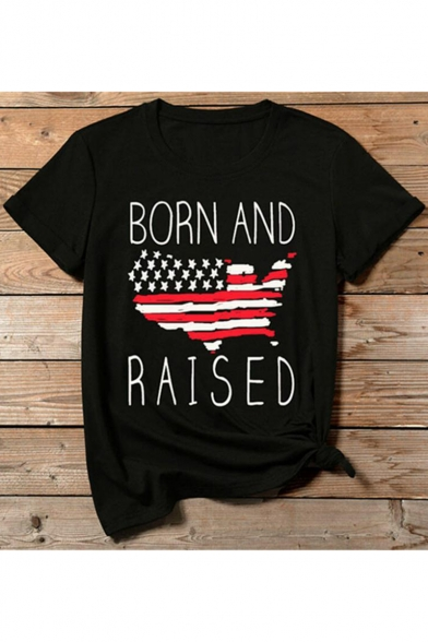BORN AND RAISED Letter Flag Printed Black Round Neck Short Sleeve Tee