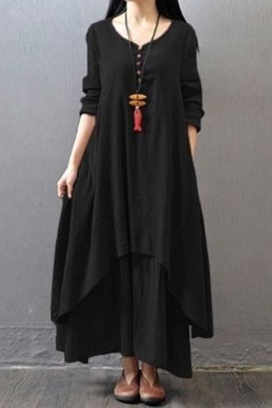 Chinese Style Retro Solid Color V-Neck Long Sleeve Linen Maxi Swing Dress