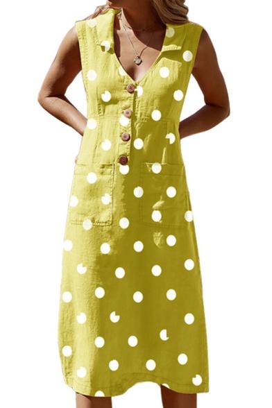 Classic Fashion Polka Dot Printed V-Neck Sleeveless Button Front Midi A-Line Dress