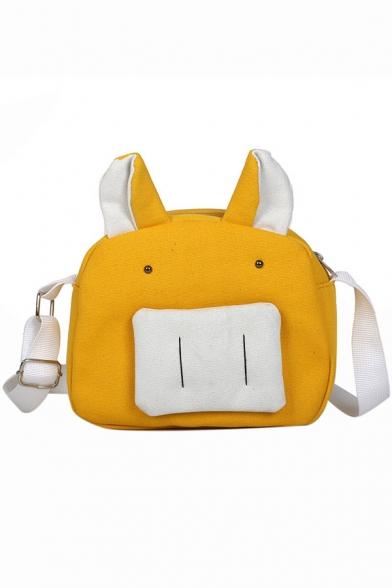 Cute Cartoon Animal Shape Colorblock Canvas Crossover Shoulder Bag 19.5*7*17.5 CM