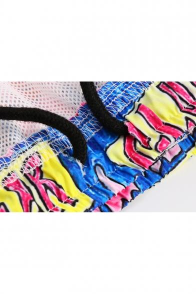 Cute Funny Cartoon Red Lip Graffiti Print Guys Pink Beach Swimwear Swim Shorts with Liner