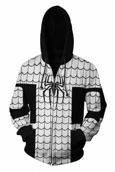 Fashion 3D Spider Printed Long Sleeve Zip Front Casual White Hoodie