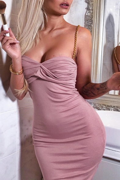 Girls Summer Unique Fashion Chain Straps Pink Bodycon Mini Cami Dress