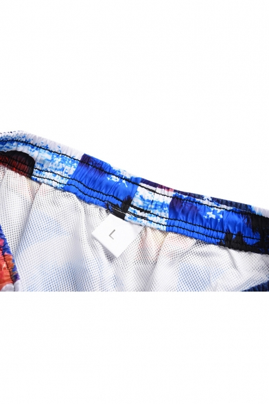 Guys Cool Blue Wave Pattern Drawstring Waist Beach Swimwear Swim Trunks with Liner