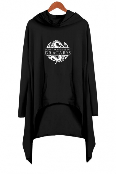 Baycheer / Hot Fashion Long Sleeve Hooded Dragon Dracarys Printed Asymmetrical Dress