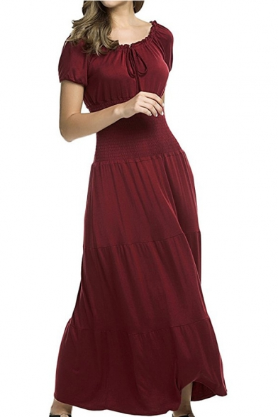 Hot Fashion Solid Color Ruffled Hem Tied Round Neck Short Sleeve Maxi Flared Dress