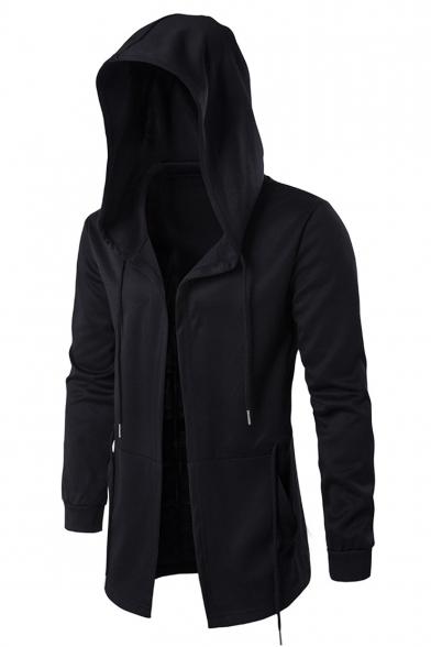 Mens Hip Hop Style Simple Plain Black Hooded Cape Coat